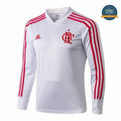 Cfb3 Camisetas Sudadera Training Flamengo Blanco 2018/2019 Cuello V