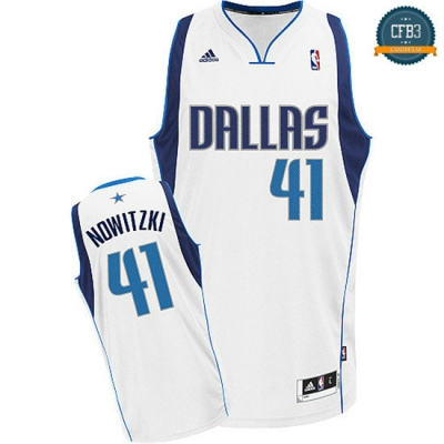 cfb3 camisetas Dirk Nowitzki Dallas Mavericks [Blanco]