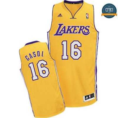 cfb3 camisetas Pau Gasol, Los Angeles Lakers [Dorada]