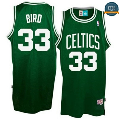 cfb3 camisetas Larry Bird Boston Celtics [Verde y Blanco]