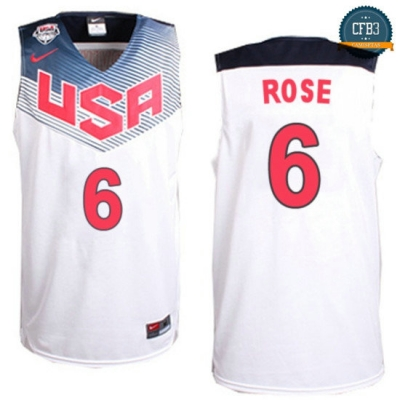 cfb3 camisetas Derrick Rose, USA 2014 - Blanco