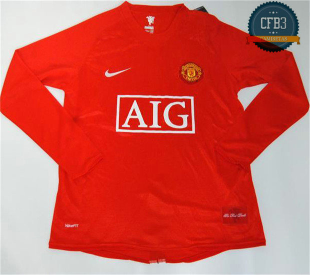 Camiseta 2007-08 UCL final sleeve Manchester United Manga Larga