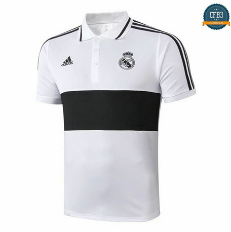 Cfb3 D186 Camiseta Real Madrid POLO Blanco/Negro 2019/2020