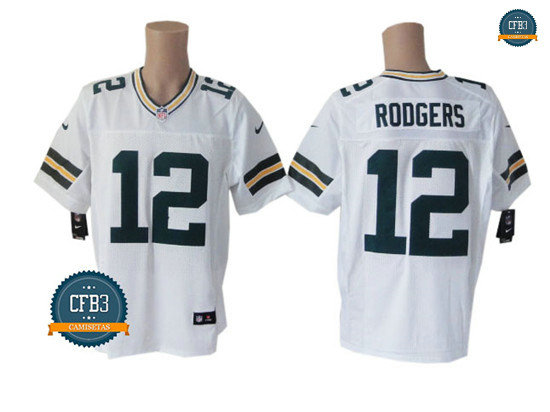 cfb3 camisetas Aaron Rodgers, Green Bay Packers - Blanco