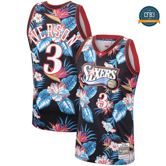 cfb3 camisetas Allen Iverson, Philadelphia 76ers - Mitchell & Ness Floral Pack