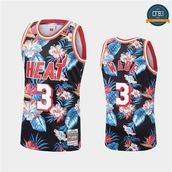 cfb3 camisetas Dwyane Wade, Miami Heat - Mitchell & Ness Floral Pack