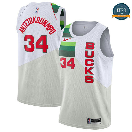 cfb3 camisetas Giannis Antetokounmpo, Milwaukee Bucks 2018/19 - Earned Edition