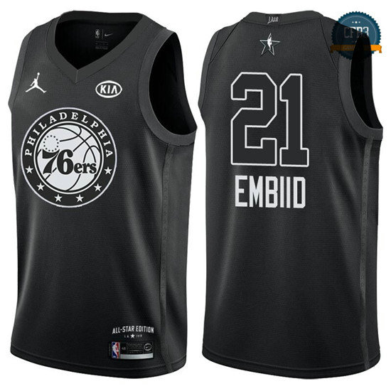 cfb3 camisetas Joel Embiid - 2018 All-Star Negro
