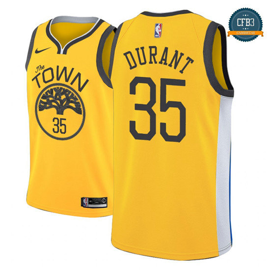 cfb3 camisetas Kevin Durant, Golden State Warriors 2018/19 - Earned Edition