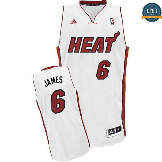 cfb3 camisetas Lebron James Miami Heat [Blanco]
