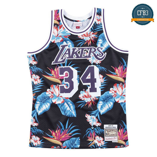 cfb3 camisetas Shaquille O'Neal, Los Angeles Lakers - Mitchell & Ness Floral Pack