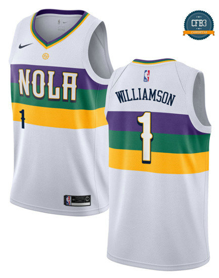 cfb3 camisetas Zion Williamson, New Orleans Pelicans 2018/19 - City Edition